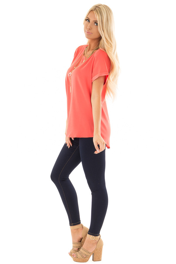 Coral Silk Short Sleeve Top with Zipper Back side full body
