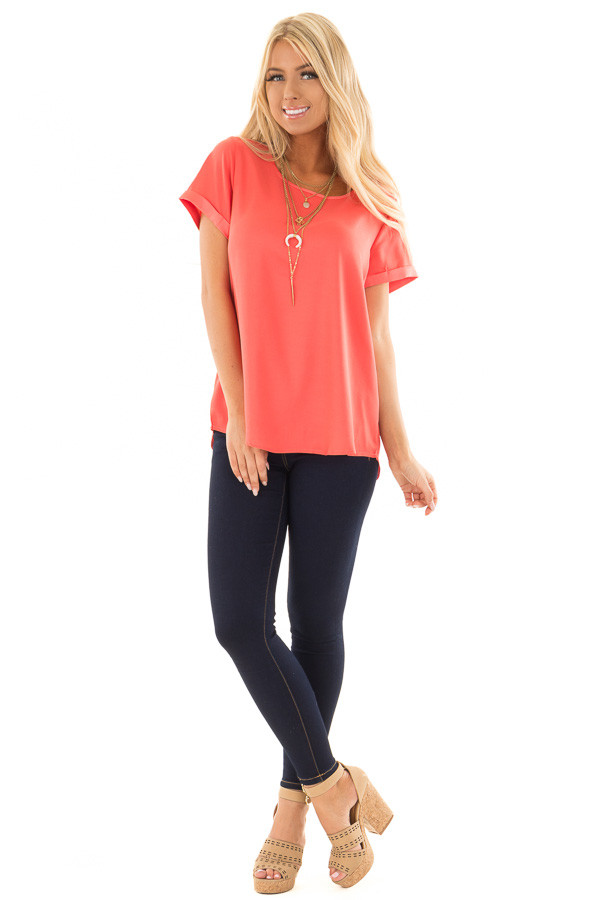 Coral Silk Short Sleeve Top with Zipper Back front full body