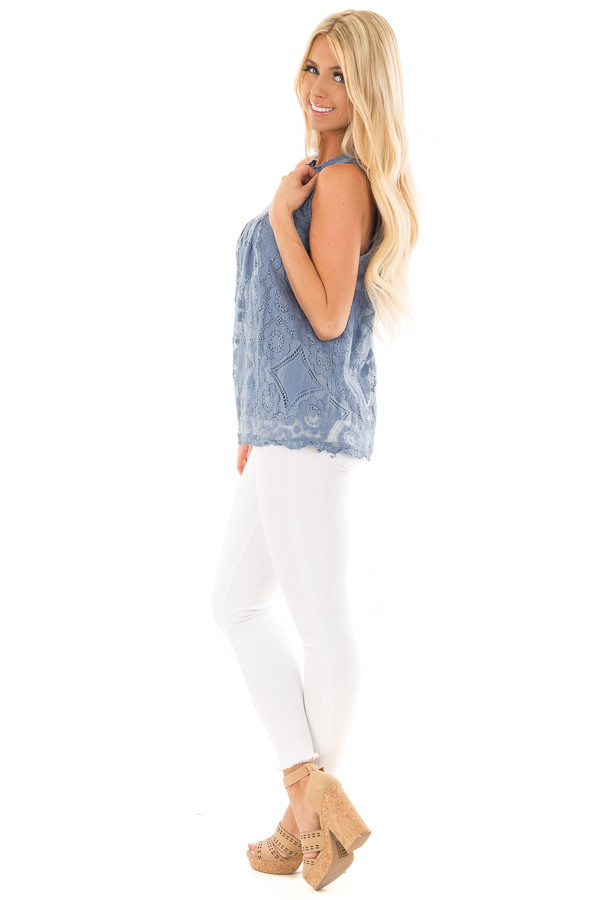 Arctic Blue Lace Sleeveless Top with Keyhole Back side full body