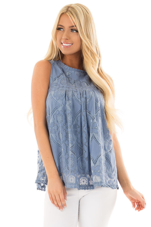 Arctic Blue Lace Sleeveless Top with Keyhole Back front close up