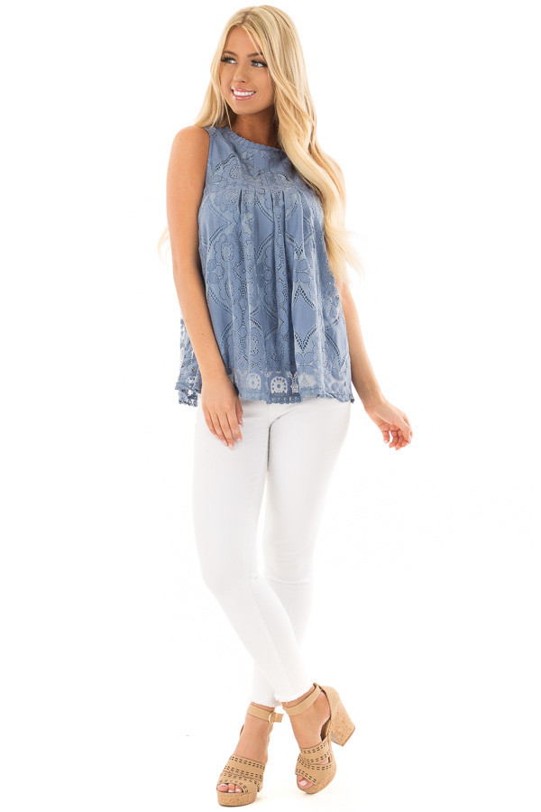 Arctic Blue Lace Sleeveless Top with Keyhole Back front full body