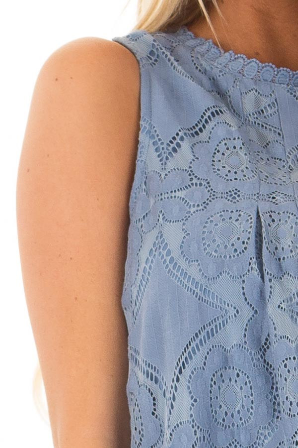 Arctic Blue Lace Sleeveless Top with Keyhole Back detail
