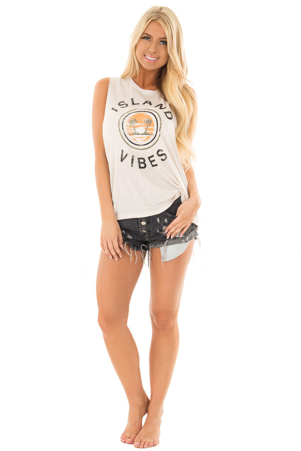 Light Beige Cut Off Tank with 'Island Vibes' Print front full body