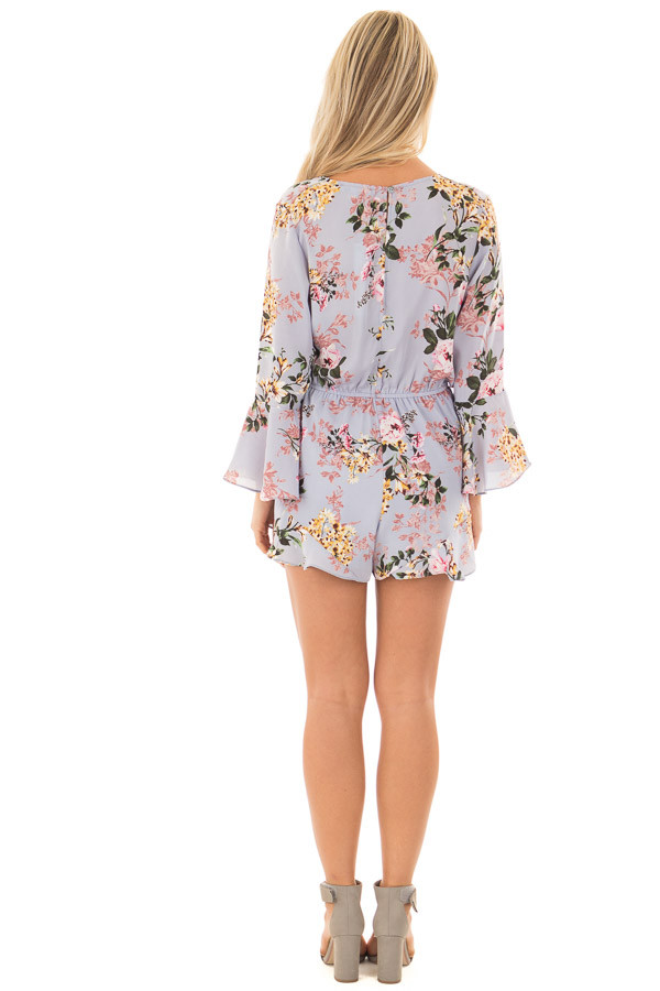 Misty Blue Floral Print Bell Sleeve Romper with Side Tie back full body