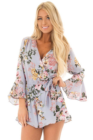 Misty Blue Floral Print Bell Sleeve Romper with Side Tie front close up