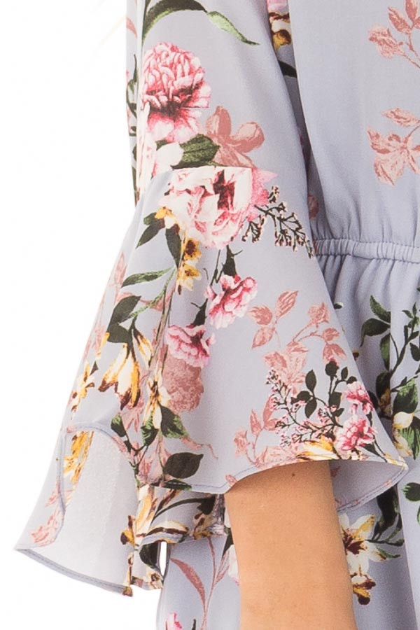Misty Blue Floral Print Bell Sleeve Romper with Side Tie detail