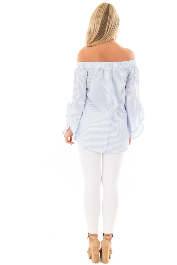 Baby Blue and White Striped Off the Shoulder Top back full body