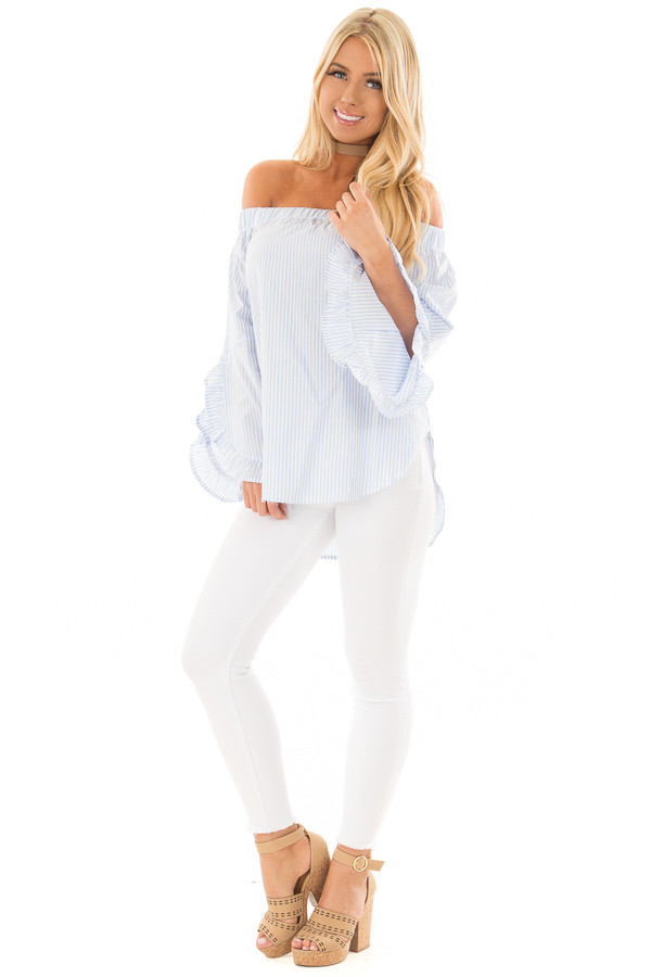 Baby Blue and White Striped Off the Shoulder Top front full body