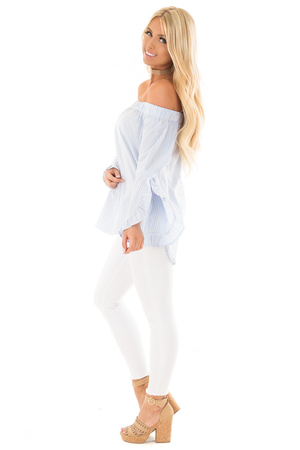 Baby Blue and White Striped Off the Shoulder Top side full body