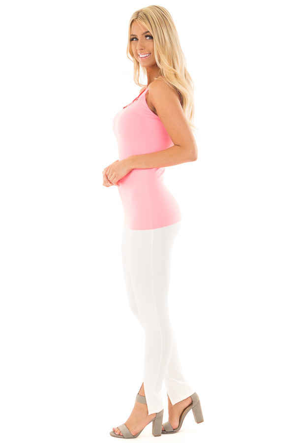 Neon Pink Seamless Cami with Caged Neckline side full body