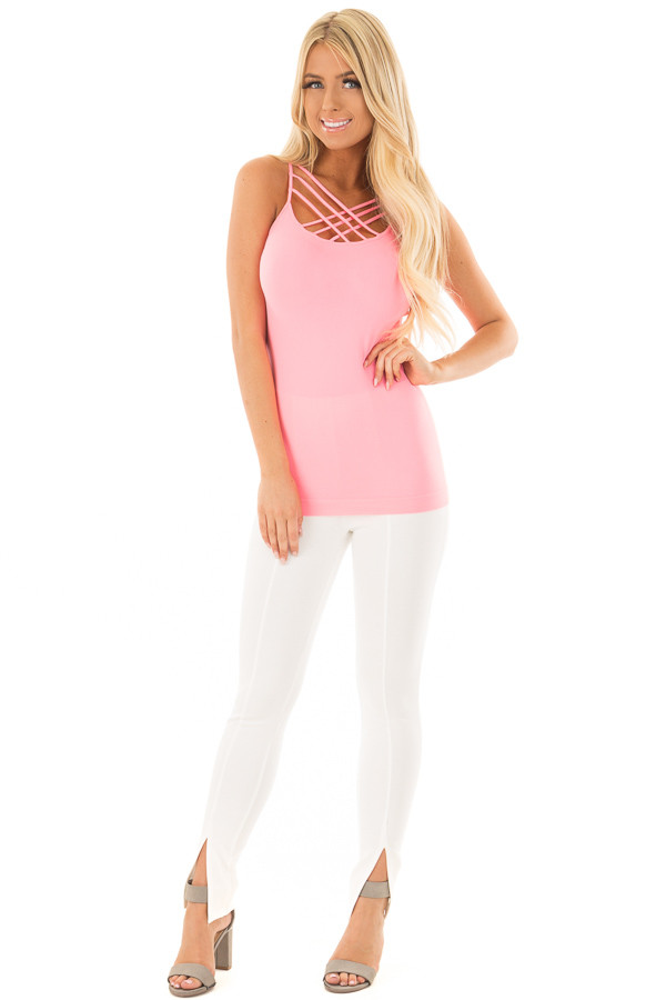 Neon Pink Seamless Cami with Caged Neckline front full body