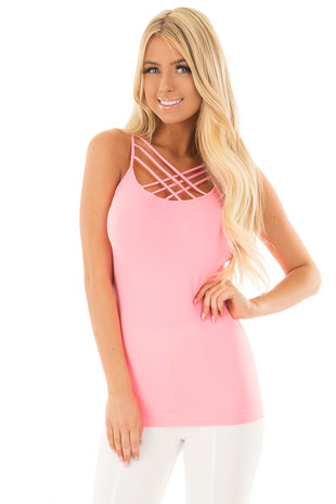 Neon Pink Seamless Cami with Caged Neckline front close up