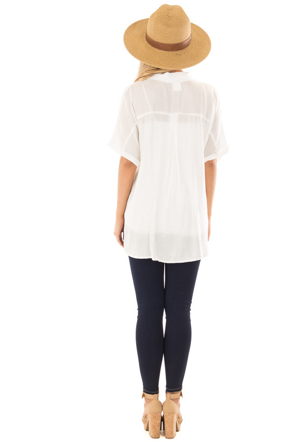 White Button Up Short Sleeve Blouse with Twisted Hem back full body