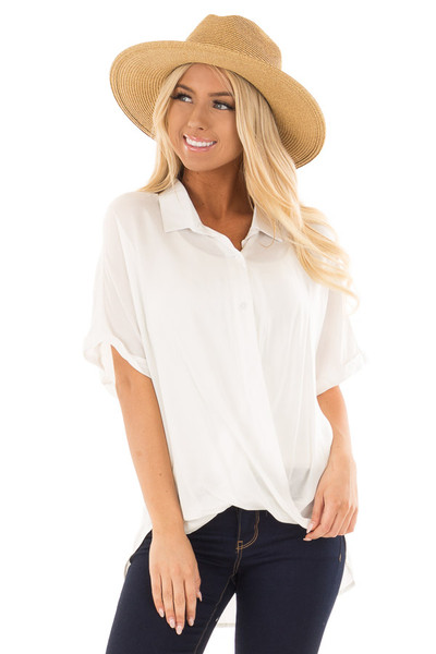 White Button Up Short Sleeve Blouse with Twisted Hem front close up
