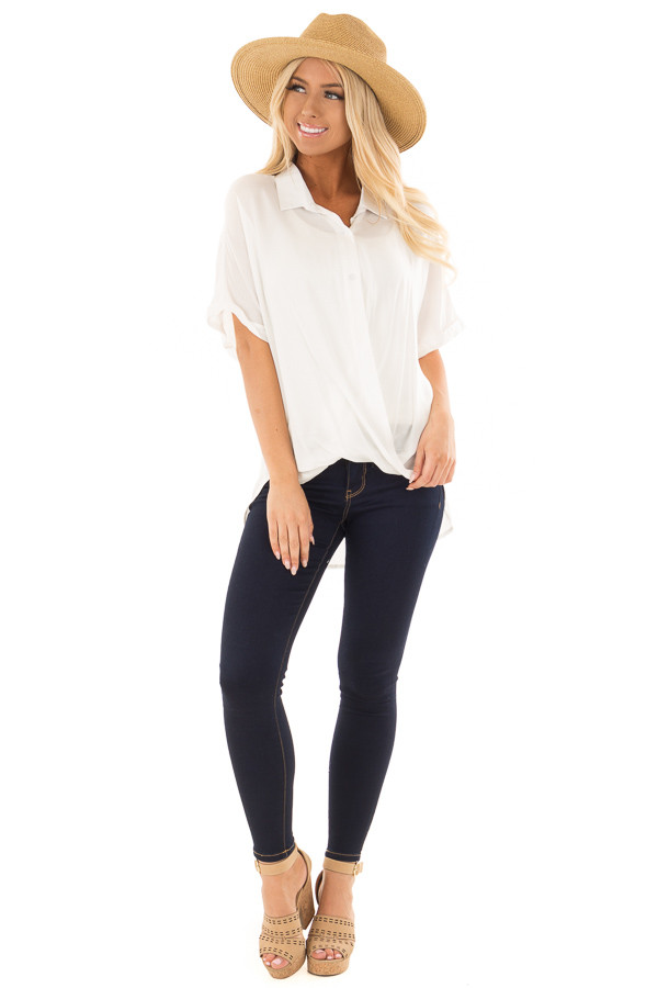 White Button Up Short Sleeve Blouse with Twisted Hem front full body