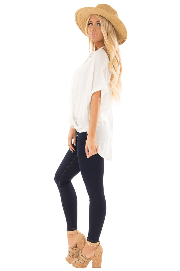 White Button Up Short Sleeve Blouse with Twisted Hem side full body
