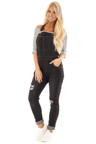 Black Distressed Denim Overalls front full body