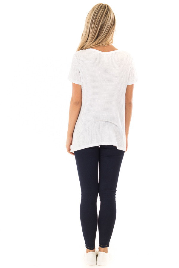 Ivory Waffle Knit V Neck Top with Side Slits back full body