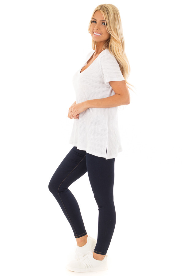 Ivory Waffle Knit V Neck Top with Side Slits side full body