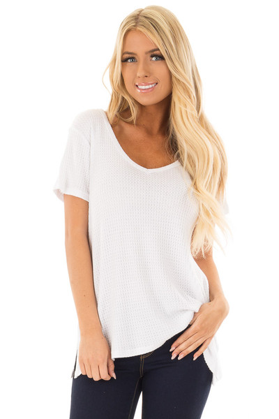 Ivory Waffle Knit V Neck Top with Side Slits front close up
