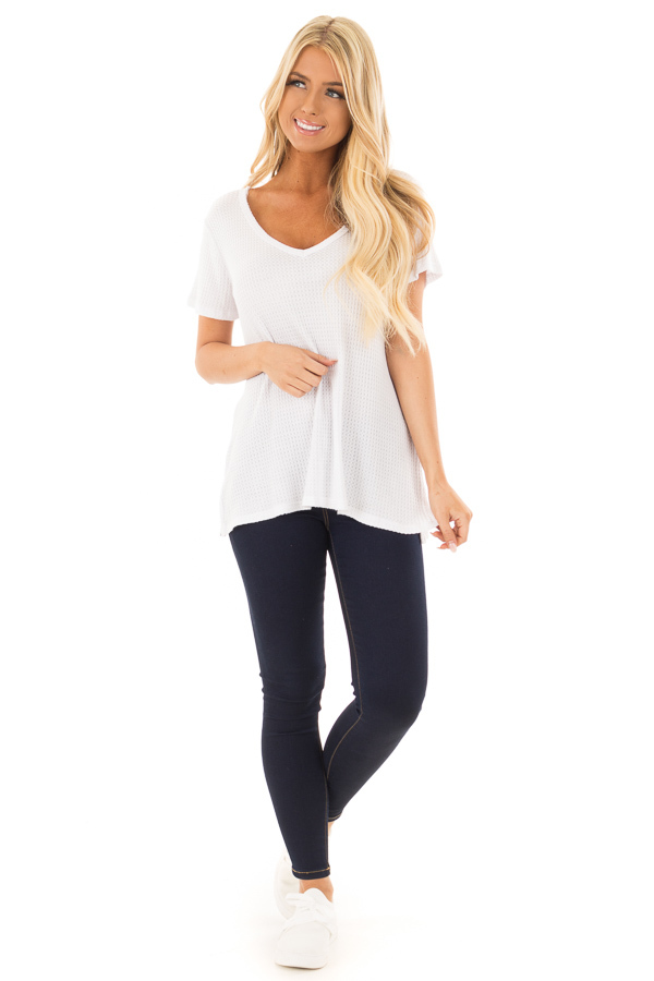 Ivory Waffle Knit V Neck Top with Side Slits front full body