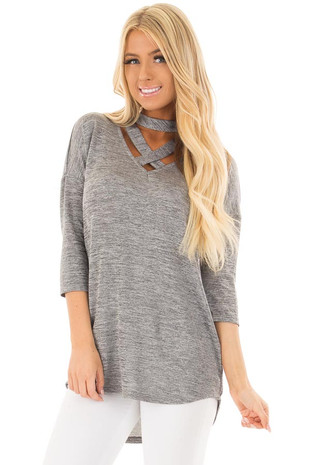 Silver Cut Out Choker Top with Criss Cross Detail front close up
