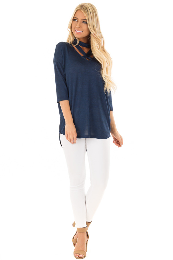 Midnight Blue Cut Out Choker Top with Criss Cross Detail front full body
