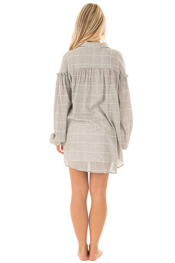 Grey and Ivory Checkered Button Down Top with Bishop Sleeves back full body