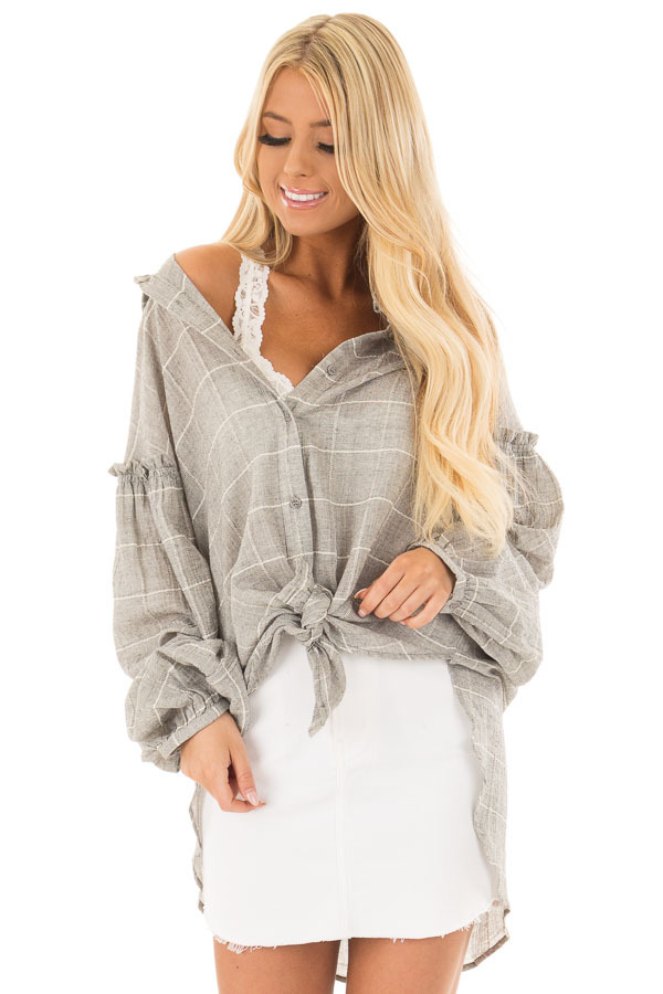 Grey and Ivory Checkered Button Down Top with Bishop Sleeves front close up