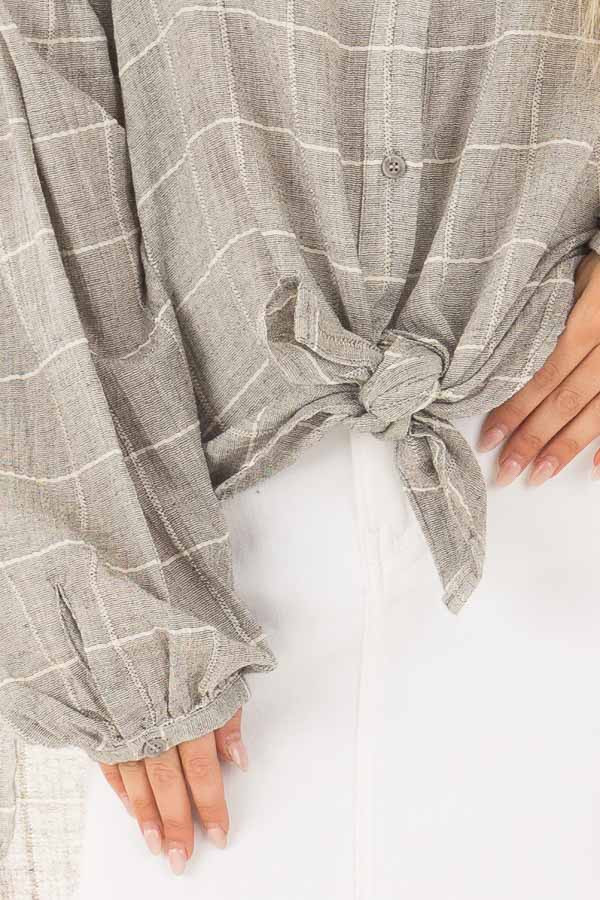 Grey and Ivory Checkered Button Down Top with Bishop Sleeves detail