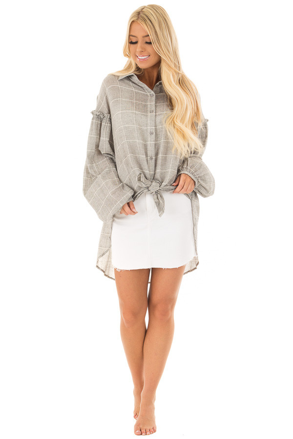 Grey and Ivory Checkered Button Down Top with Bishop Sleeves front full body