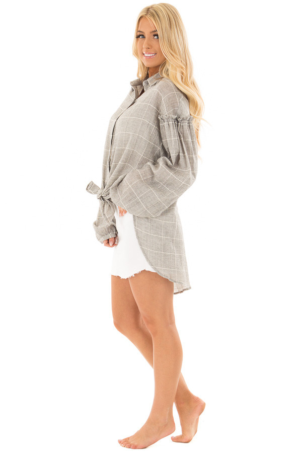 Grey and Ivory Checkered Button Down Top with Bishop Sleeves side full body