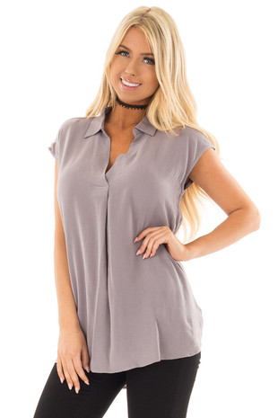 Grey V Neck Cap Sleeve Blouse front close up