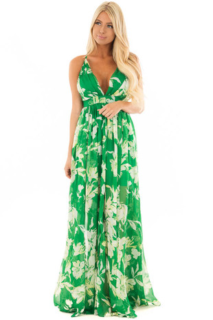 Tropical Green Floral Chiffon Maxi Dress front full body