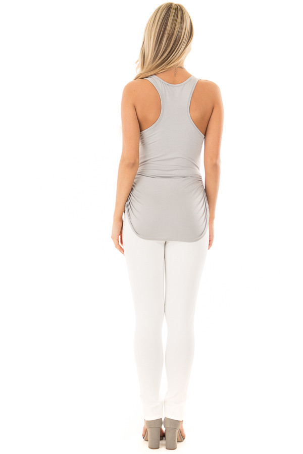 Grey Tank Top with Ruched Sides back full body