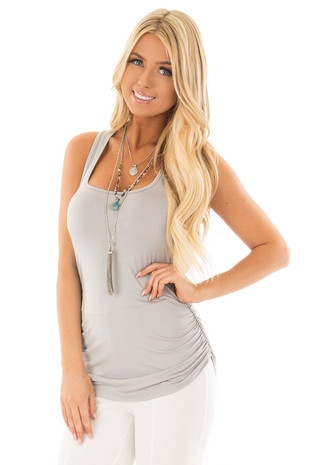 Grey Tank Top with Ruched Sides front close up