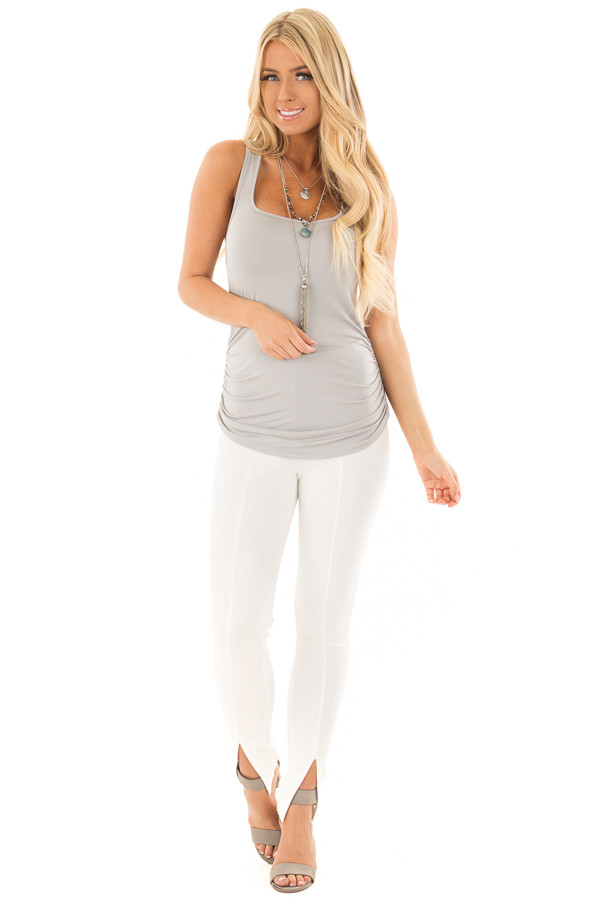 Grey Tank Top with Ruched Sides front full body