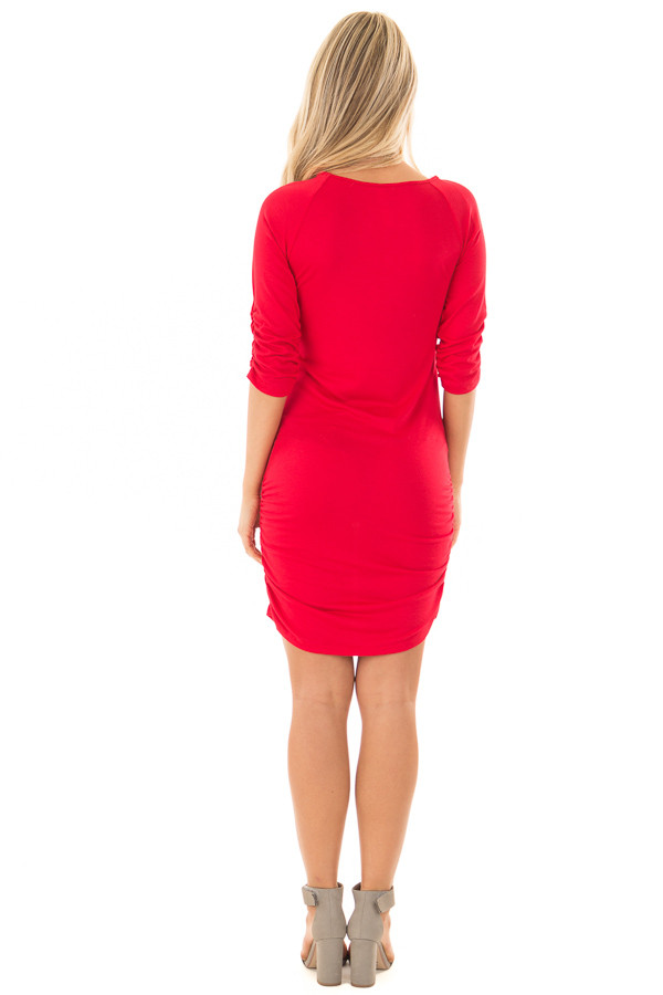 Ruby Red Tunic with Ruching Detail back full body