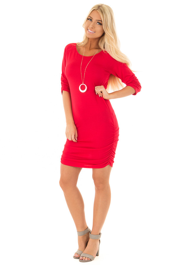 Ruby Red Tunic with Ruching Detail front full body