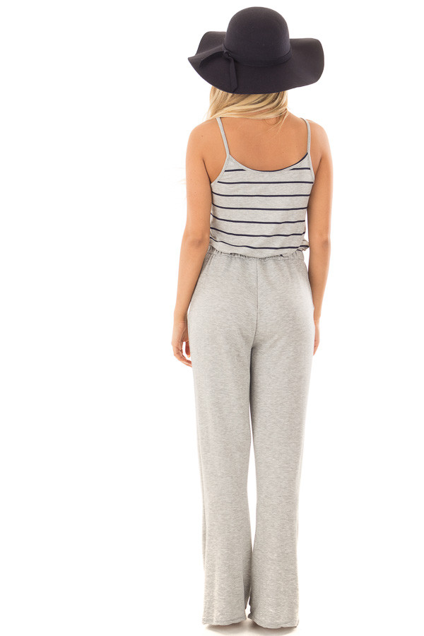 Heather Grey Jumpsuit with Navy Stripes and Waist Tie back full body