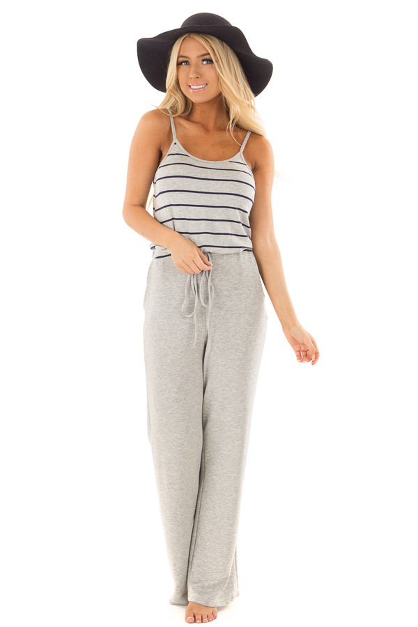 Heather Grey Jumpsuit with Navy Stripes and Waist Tie front full body