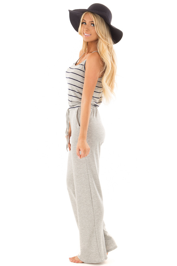 Heather Grey Jumpsuit with Navy Stripes and Waist Tie side full body
