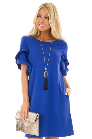 Royal Blue Ruffle Sleeve Dress with Hidden Pockets front close up