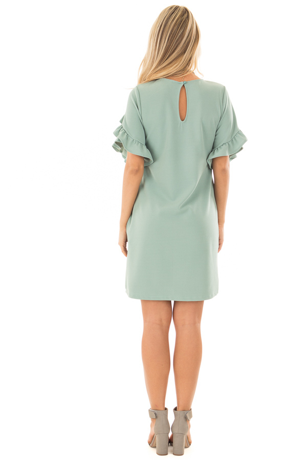 Sage Ruffle Sleeve Dress with Hidden Pockets back full body