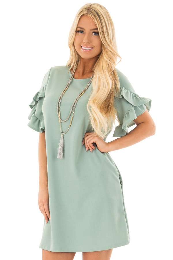 Sage Ruffle Sleeve Dress with Hidden Pockets front close up