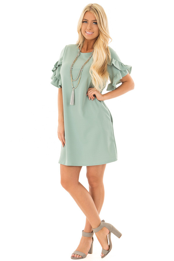 Sage Ruffle Sleeve Dress with Hidden Pockets front full body