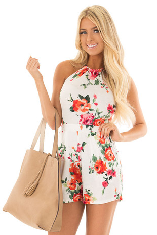 White Floral Print Open Back Romper with Side Pockets front close up