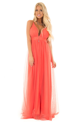 Coral Layered Full Length Flowy Gown front full body