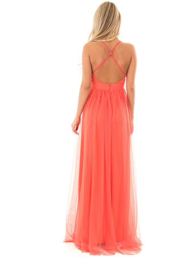 Coral Layered Full Length Flowy Gown back full body