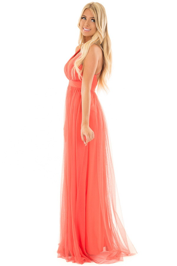 Coral Layered Full Length Flowy Gown side full body